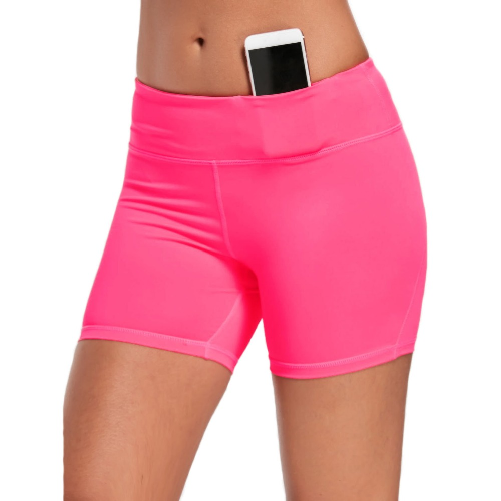 New Women Pink Shorts Summer Elastic Waist Sporting Shorts Casual Pocket Skinny Shorts For Female Fitness Short Pants