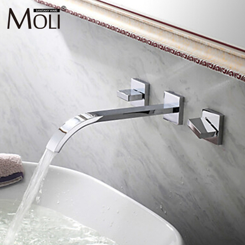 Wall faucet in bathroom double handles faucet for basin sink chromed square mixer taps