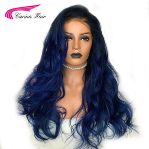 Image 1 - Carina Ombre Brazilian Lace Front Human Hair Wigs With Baby Hair Body Wave Remy Pre Plucked 13X6 Lace Front Wig For Women