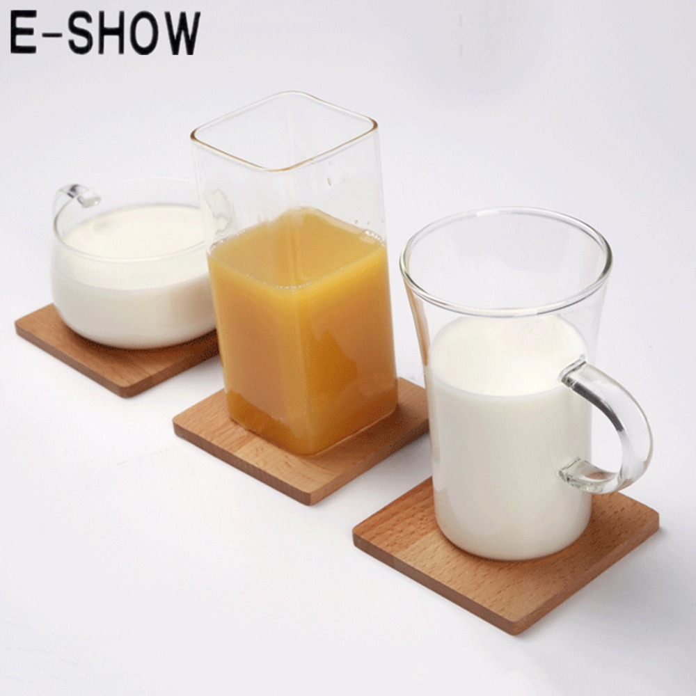 1pcs Japanese Style Beech <font><b>Coasters</b></font> Square <font><b>Solid</b></font> Wooden <font><b>Cup</b></font> Mat Place Mat pads (No <font><b>Hollow</b></font> Out) - Burlywood