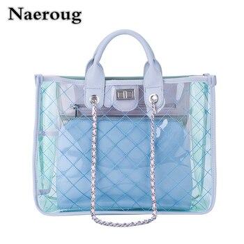 2018 Summer Clear Chain Women Shoulder Bag Large Capacity Casual Tote Transparent Diamond Lattice Messenger Bag Channel Bag Sac алиэкспресс сумка прозрачная