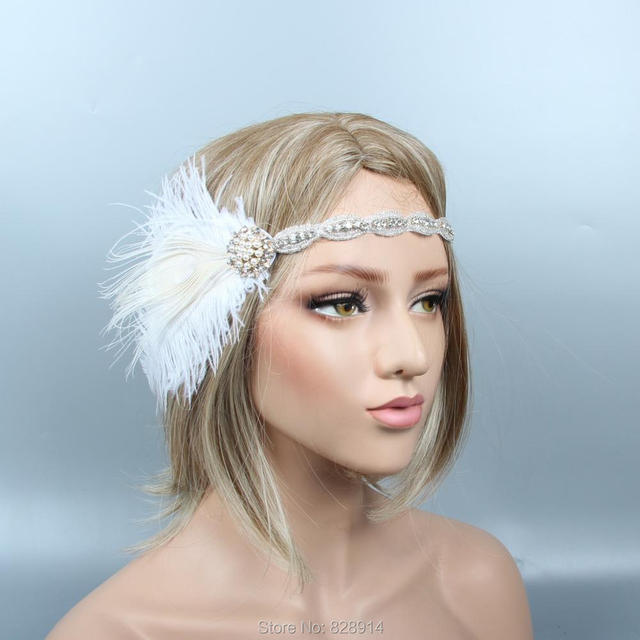 1b4c17a3febfb New Arrival 1920 s Gatsby Flapper Headpiece Crystal Bride Headpiece Ivory  Feather Headband Bridal Crown HS10275