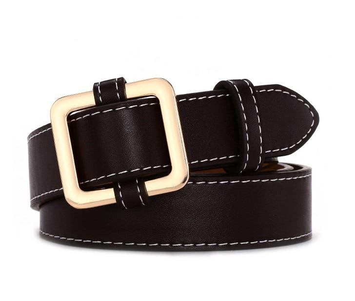 Горячая распродажа! женский ремень с пряжками и пряжками, с золотой пряжкой, для джинсов, для женщин, модные, студенческие, простые, повседневные брюки - Цвет: style 4 gold coffee