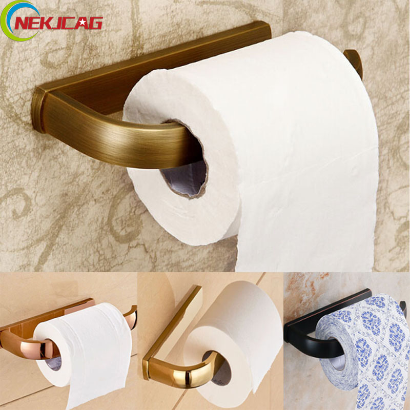 Free Shipping Paper Holders Wall Mounted Solid Brass Roll Toilet Paper 4 Colors  Bathroom Accessories free shipping wall mounted brass door stopper suitable for interior doors door holders for sale high suction 356g