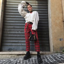 2018 New Retro Punk Red Plaid Checkered Female Pants High Autumn Loose Streetwear Pencil Trousers