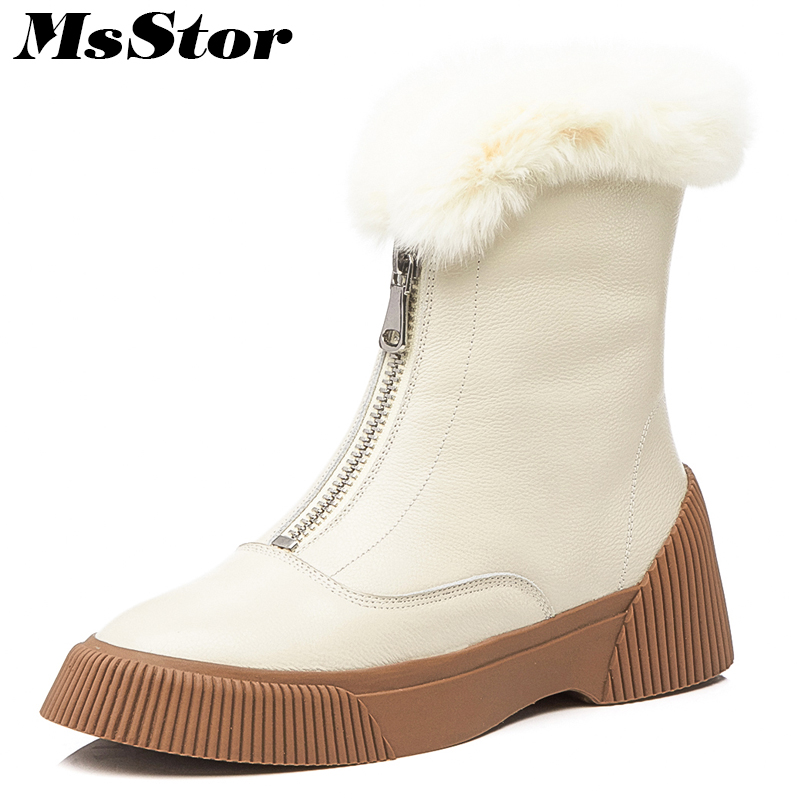 MsStor Round Toe Med heel Women Boots 2018 New Fashion Zipper Fur Ankle Boots Women Winter Shoes Wool Flat Boot Shoes For Woman round toe flat heel zipper ankle boots