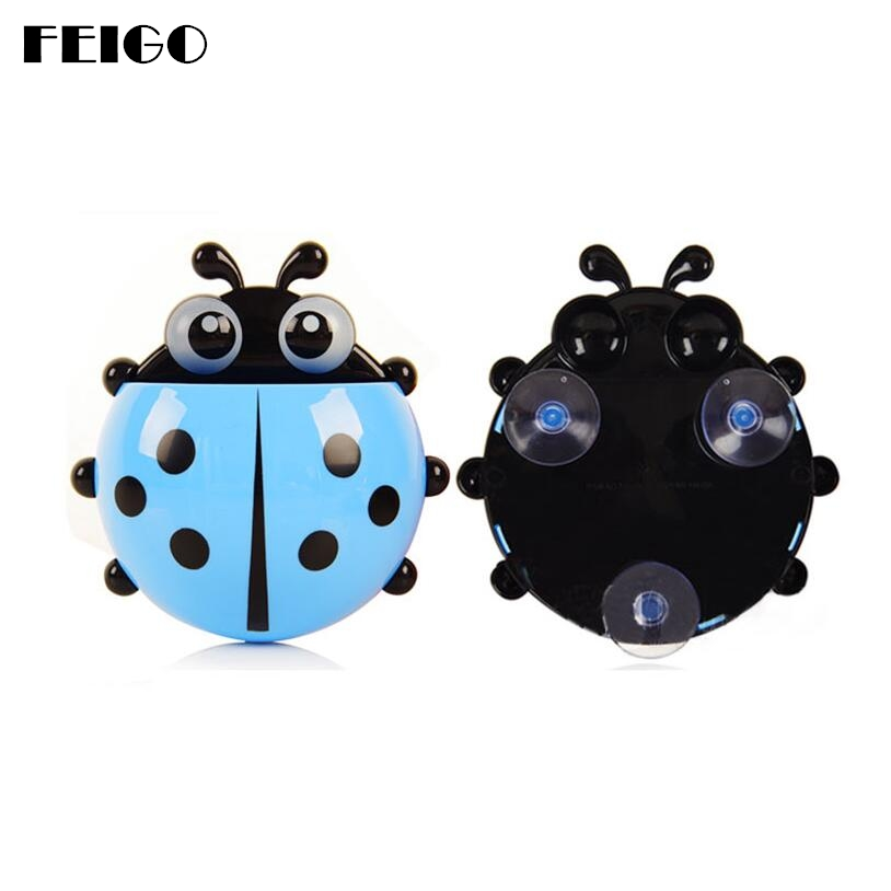 FEIGO 2018 Cute Novelty Ladybug Toothpaste Dispenser Bathroom Toothbrush Holder Toothpaste Powerful Suction Kit Combination F171 image