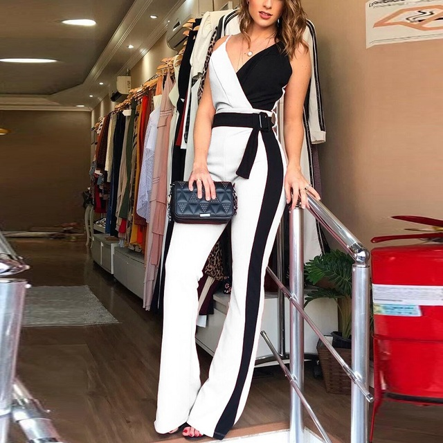 Комбинезон женский с V образным вырезом, элегантный офисный комбинезон в полоску, на бретелях спагетти, с поясом, с цветными вставкамиКомбинезоны    АлиЭкспресс