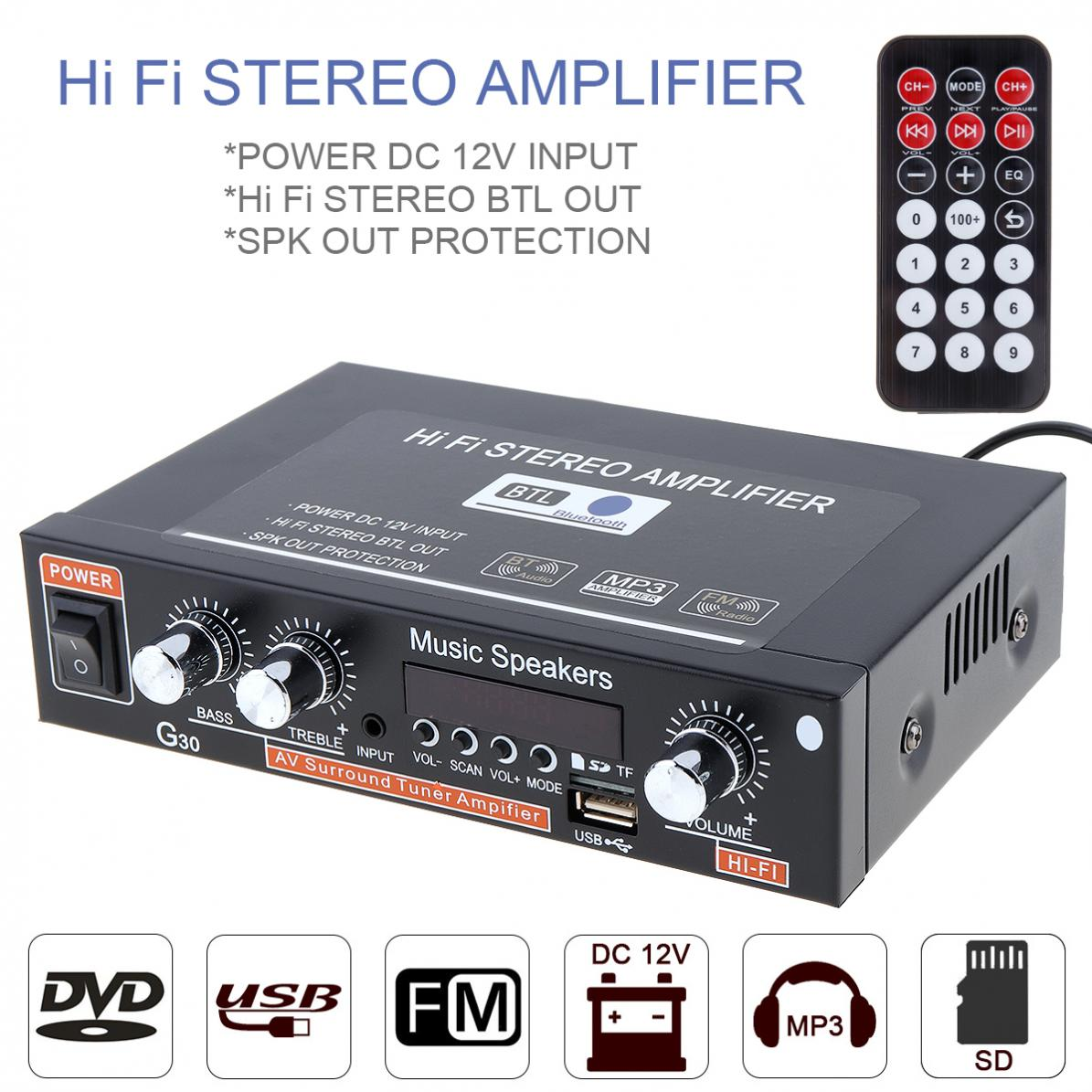 G30 HIFI Bluetooth Car Audio Power Amplifier FM Radio Player Support SD / USB / DVD / MP3 with Remote Controller for Car