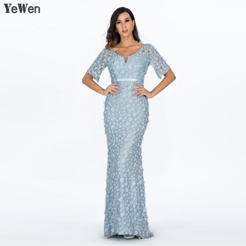 5831318210c Sirène manches courtes luxe robe de soirée longue col en V rose fleurs  perles femmes élégant formelle robes de soirée 2019 robes de bal dans Robes  De Soirée ...