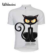 Ropa de Ciclismo para mujer, camiseta de Ciclismo de manga corta de gato negro, Ropa deportiva para chica 5149