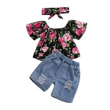 Summer Baby Girls Off-shoulder Floral Print Tops Blouse+Denim Shorts Suits with Headband Casual Outfits Sets