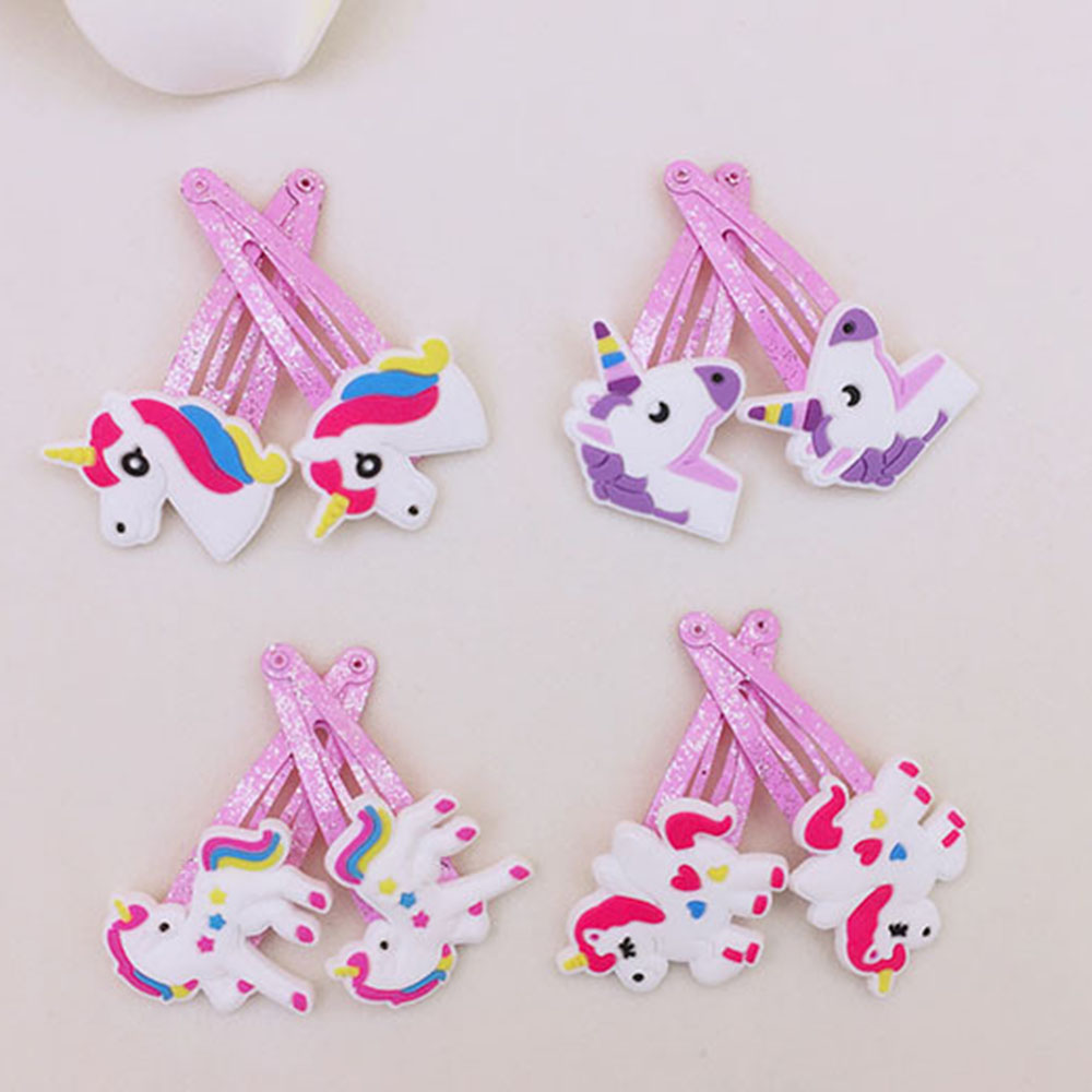 1Pair Cartoon Unicorn Hair Clips Hairpins Hair Jewelry Accessories Kids   Headwear