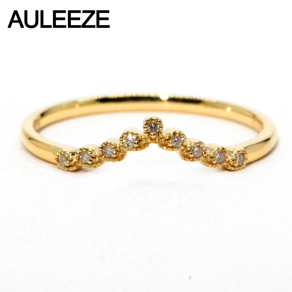 AULEEZE Diamond Jewelry Solid 18K Yellow Gold Ring Natural White ...