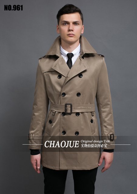 Hombres trench coat otoño invierno hombres de la capa ocasional delgada medio-largo de gran tamaño abrigo de otoño! S-5XL envío libre