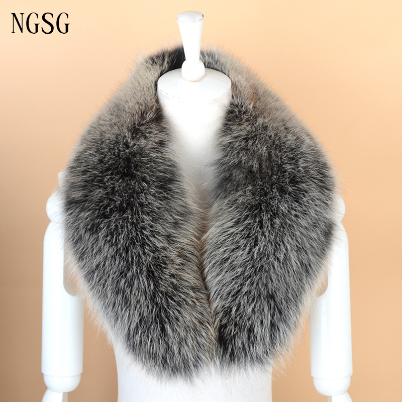Fox Fur Collar Hooded Collar Real Fur Jacket Fur Collar Brand Scarf 80 cm Length Gray Solid Adult Genuine Upscale SF13060 18