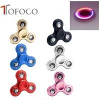 TOFOCO Tri-Spinner Fidget Spiner LED Glowing In The Dark Spinner Cube EDC Fidgets Hand Spinner Metal Anti-stress Finger Spinner