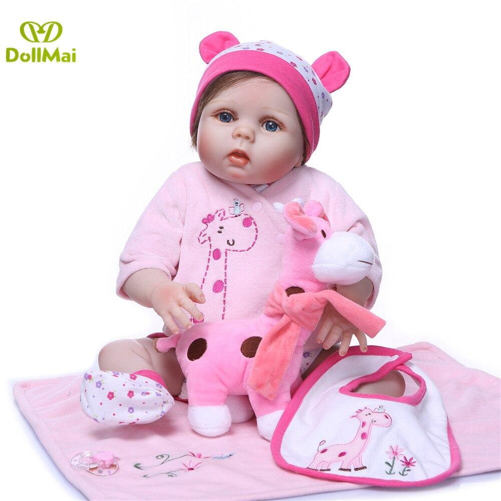 DollMai 23inch Lifelike reborn dolls babies Full silicone fashion rose pink menina Toys For Girls bebe gift reborn bonecas toy - 2