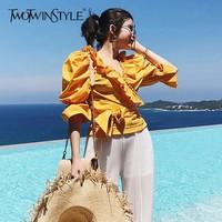 TWOTWINSTYLE Korean Ruffles Women's Shirt V Neck Three Quarter Puff Sleeve 2018 Short Slim Feminine Blouse Sexy Summer Top New
