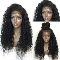 Fluffy Long Deep Curly Lace Frontal Synthetic Hair Wigs Fashion Women