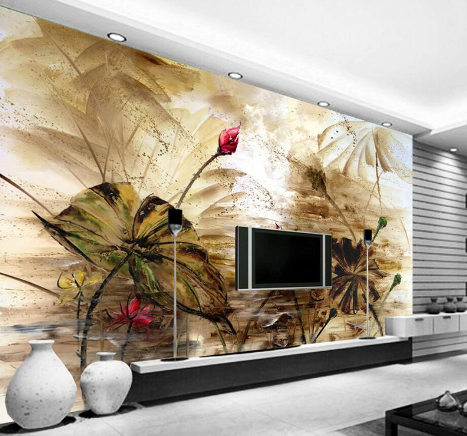US $8.85 41% OFF|Beibehang Custom Wallpaper Home Decoration Mural Painting  Oil Paintings Large Chinese TV Background walls mural 3d wallpaper-in ...
