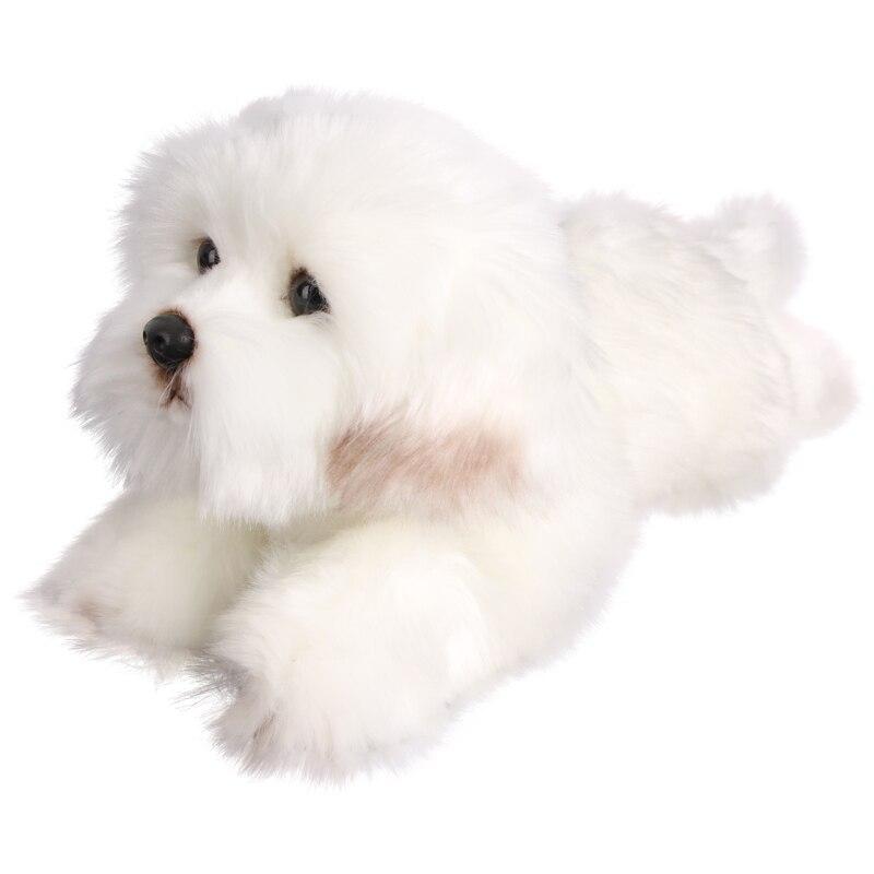 Oyuncaklar ve Hobi Ürünleri'ten Doldurulmuş ve Peluş Hayvanlar'de Kawaii köpek simülasyon bebek yumuşak Malta köpek peluş oyuncak sevimli evcil hayvanlar uyku yastığı bebek hediye düğün dekor 38x14x15cm'da  Grup 3
