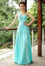 New Light Blue Long Bridesmaid Dress Plus Bridal Party Flower One Shoulder Empire Sweetheart Custom Chiffon Dresses Vestides