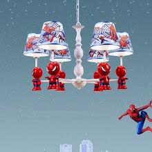 Cartoon Fashion Design Spiderman Pendent Lamp Boys Bedroom Children Room Modern Simple LED Hanging Lighting Luminaire