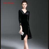 Fairy Dreams Women Velvet Dress 2017 Spring New Arrival Asymmetrical Black Elegant Dresses Ladies Fashion Big