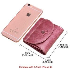 Image 5 - LAORENTOU Brand Women Short Wallets Genuine Leather Standard Wallets Fashion Zipper Purse Lady Coin Pocket Card Holder for Woman