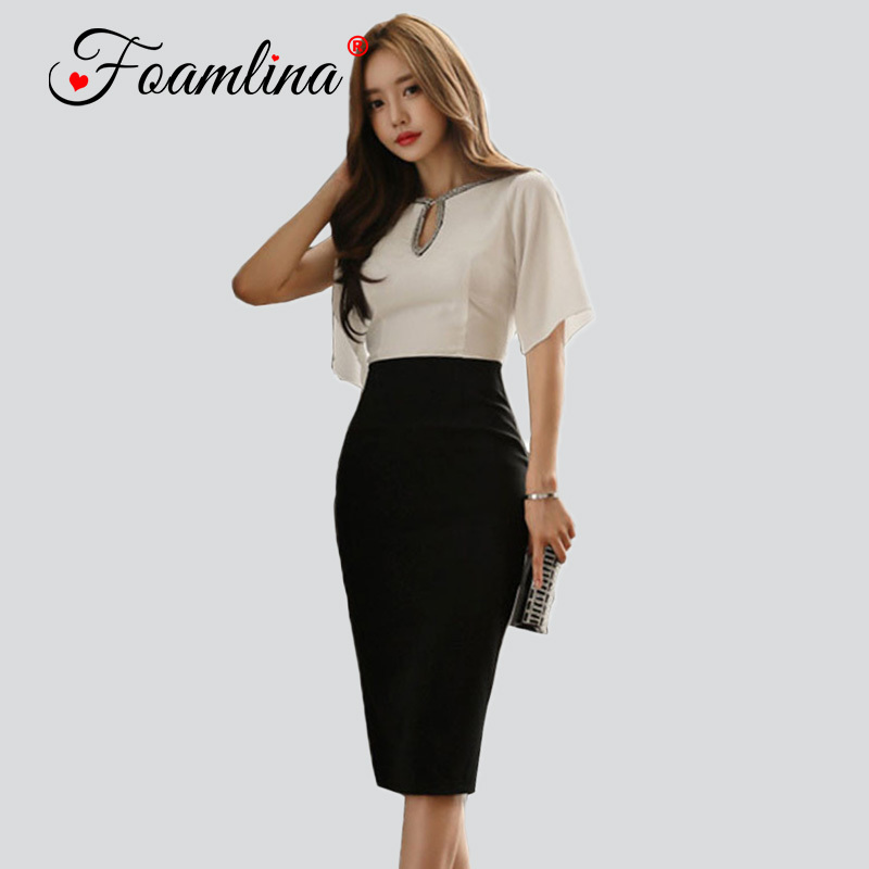Aliexpresscom  Buy Foamlina Patchwork Bodycon Dress Women Summer Key Hole Slit Short -9081