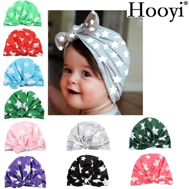 ee1e9356eef07 Hooyi beanie Baret Bayi Perempuan Topi Anak Bayi Topi Kelinci Bintang kapas  Anak Laki-laki