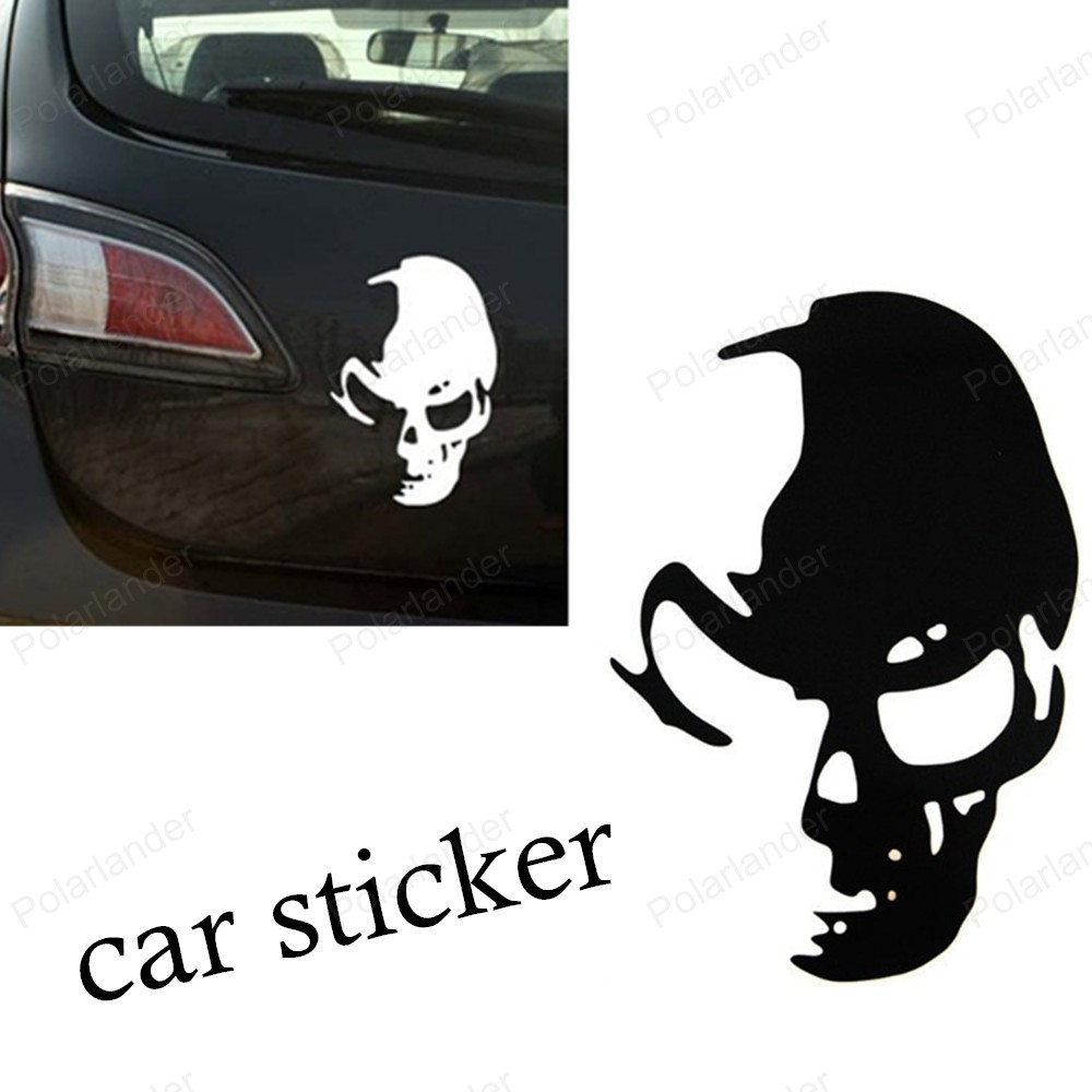 Car body sticker design for sale - Big Sale Reflective Stickers Car Modification New Design Raider Phantom Ghost Skull Funny Car Stickers
