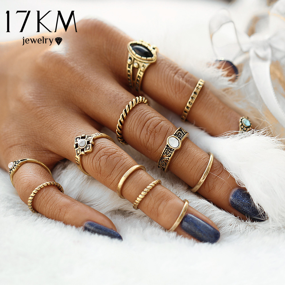 17KM 12pcs / sets Fashion Vintage Punk Midi Rings Set Antique Gold Color Boho Style Female Charms Jewelry Ring For Women