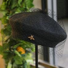 01903-shi Новая летняя ручная работа тонкая бумажная пчела изысканный тканый женский сетчатый берет Кепка женская шляпа для отдыха