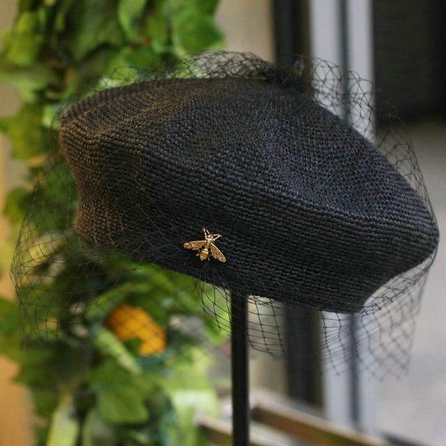 01903 shi 2019 new summer handmade fine paper bee Exquisite woven lady mesh beret cap  women leisure  hat