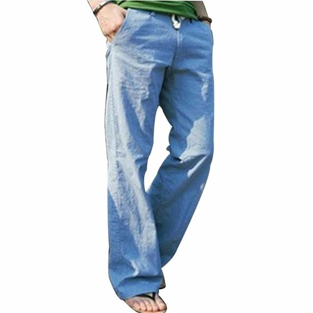 2016 Melhores Produtos Novos dos homens Calças Soltas Calças Compridas Calças Perna Reta Cintura Elástica Primavera Verão Solto