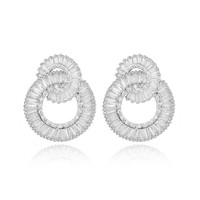 Luxury 925 silver 5A cubic zirconia trapezoid crystal rounddrop Ear Studs earrings dress patry accessaries so shinning
