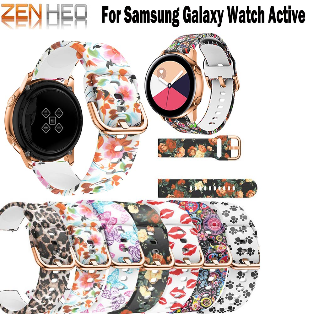 Bracelet Strap Watchband Active Samsung Gear Replacement 42mm-Band 20mm for Galaxy Flower-Printing