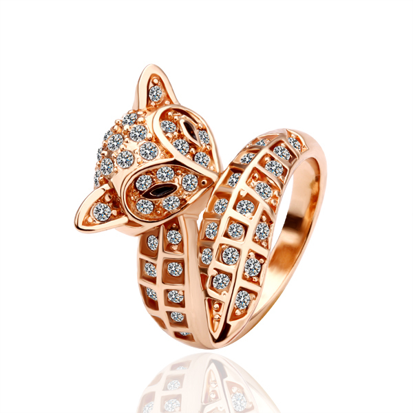 18k rose gold ring fox animal jewelry gift ring jewellry Engagement for women