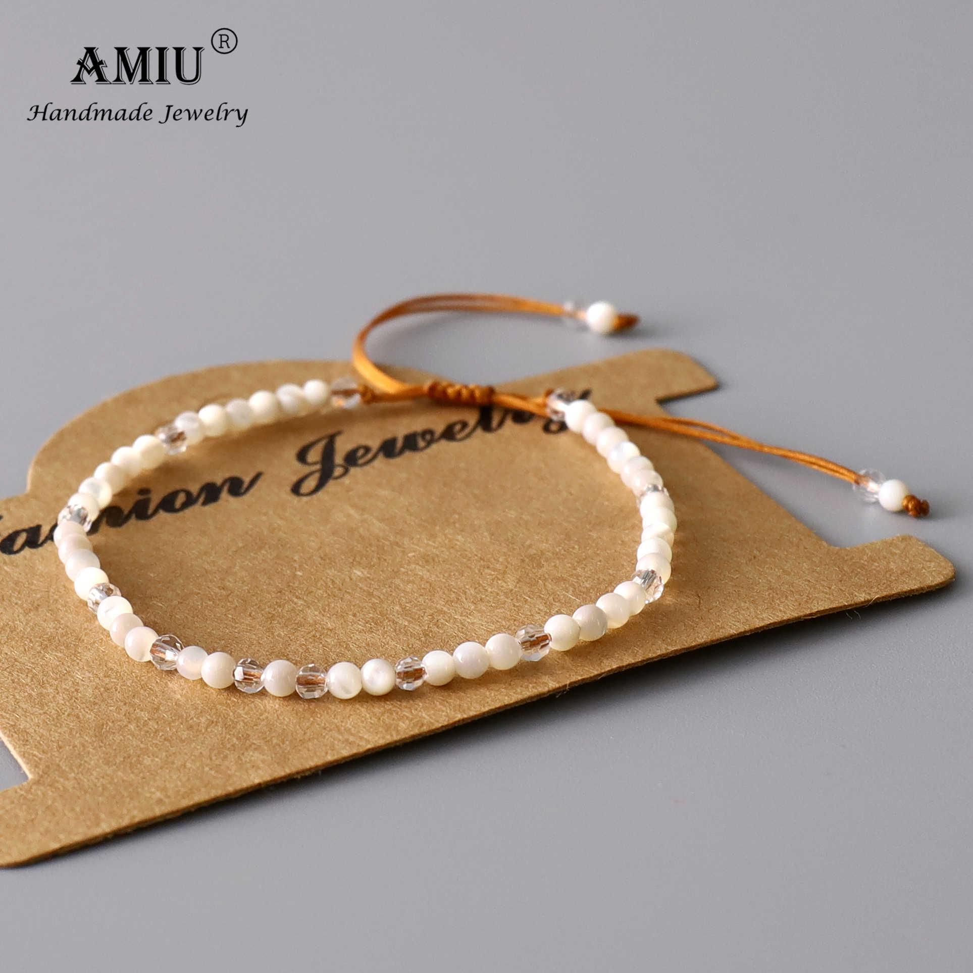 AMIU doğal beyaz İnci bilezik boncuk ayarlanabilir bilezik doğal kristal Bohemia getirmek şanslı hediye olarak bilezikler