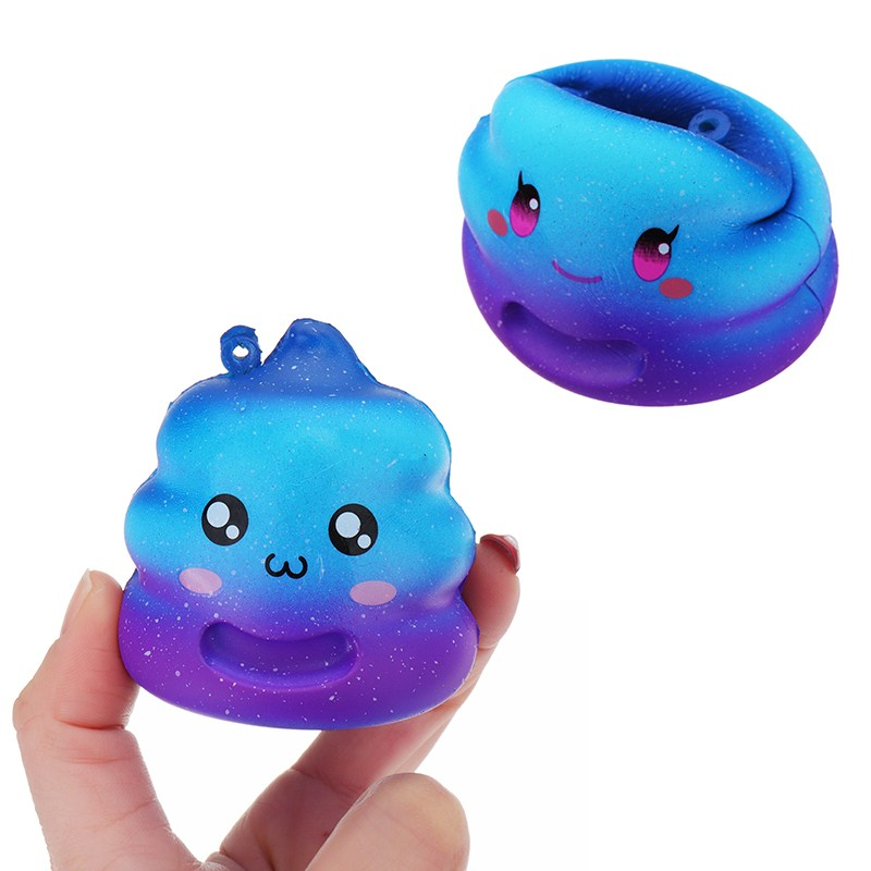 Crazy Star-sky color Cute Poo Squishies jumbo 7cm Cute Key Bag Phone Strap Chain Anti stress Slow Rising toy for Kids Adults