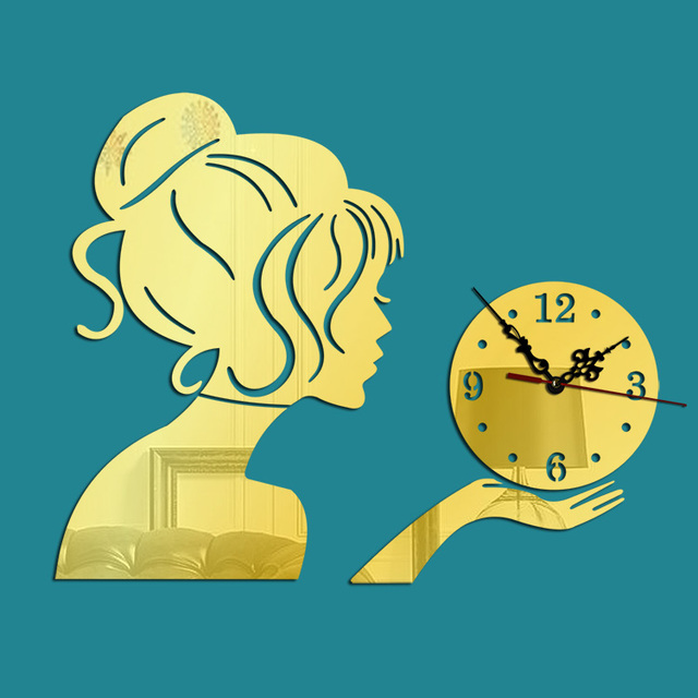 New Wall Quartz Clock Mechanism 3d Diy Beauty Girl Stickers Clock Wall relogio de parede