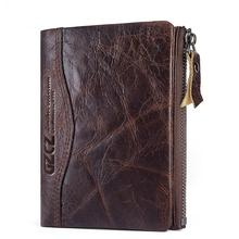 Cow Leather Men Wallet Small Zipper Pocket Male Short Coin Purse Anti-theft brush wallet Card Holder High-quality Clutch wallet