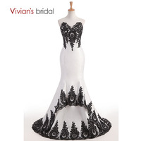 Vivian's Bridal Sweetheart Black and White Lace Mermaid Evening Dress Long Sleeveless Backless Formal Evening Gown