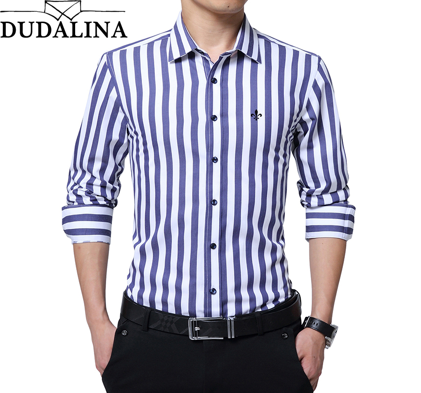 DUDALINA 2019 New Fashion Striped Shirt Men Long Sleeve Shirt Men Clothes Slim Fit Casual Men Social Shirt Imported China
