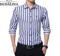 DUDALINA 2019 New Fashion Striped Shirt Men Long Sleeve Shirt Men Clothes Slim Fit Casual Men Social Shirt Imported China