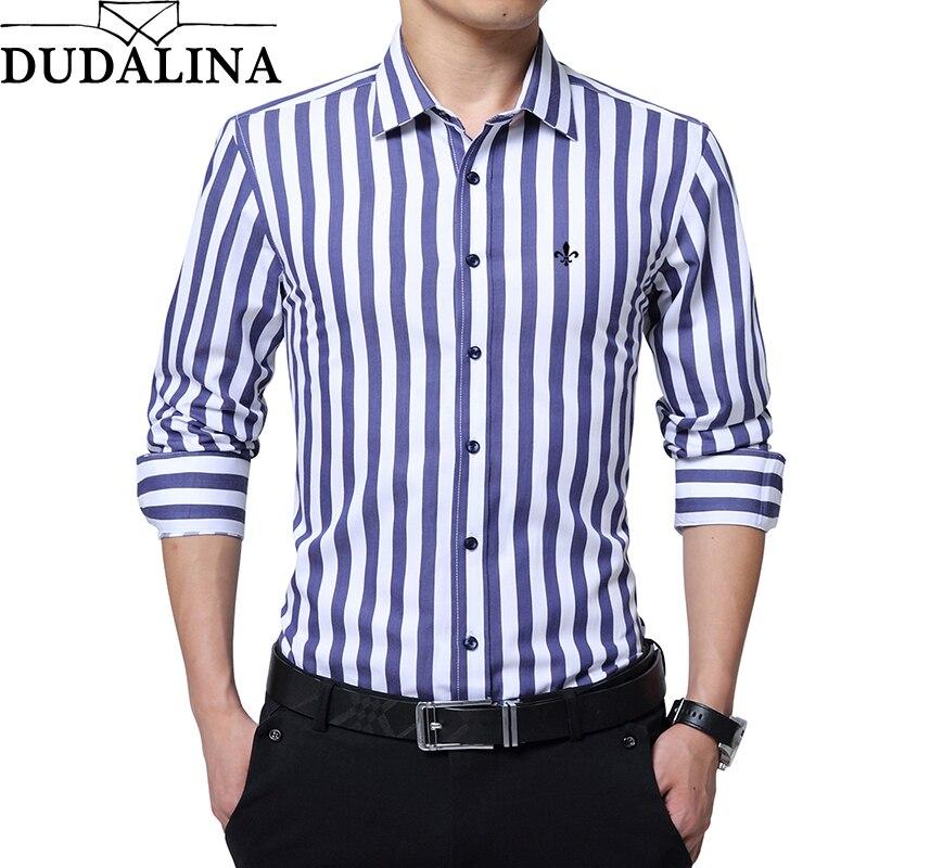 DUDALINA 2020 New Fashion Striped Shirt Men Long Sleeve Shirt Men Clothes Slim Fit Casual Men Social Shirt Imported China
