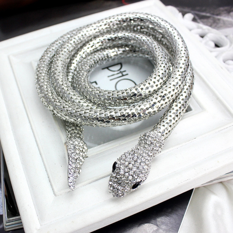 Fashion Punk Crystal Gold Silver Snake Belt For Women Collier Femme Bijoux Snake Magnet Necklaces Women Choker Jewelry Accessory in Choker Necklaces from Jewelry Accessories