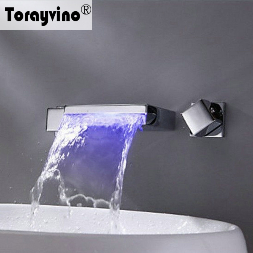 Torayvino Waterfall Bathtub LED Contemporary  Bathroom Faucet Chrome Polished Waterfall Dual Handle Hot Cold Water Shower Faucet torayvino tap bathroom shower faucet with chrome polished cold